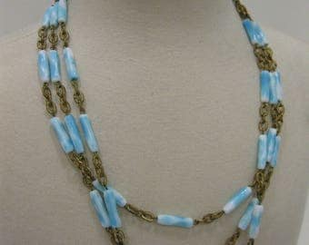 Vintage Triple Strand Blue and White Glass Bead and Brass Chain Necklace