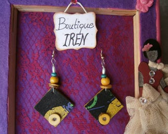 Fabric Dangle Handmade Earrings Square Beads Jewelry Gift