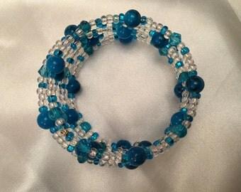 Turquoise blue memory bracelet