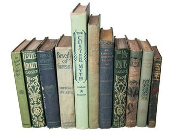 Set of Green & Blue Old Books for Decor, Book Lover Gifts, Vintage Library, Instant Library, Antique Collection, Vintage Book Themed Wedding
