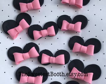 Minnie Mouse Ears and Bows Fondant Cupcake Toppers Baby Shower Birthday