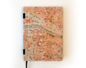 Hardcover Paris vintage map A5 dot grid Bullet Journal notebook