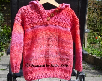 Girls Knitted Hooded Top, Hand Knitted Top, Girls Red Top, Girls Red Hoodie, Girls Knitted Hoodie, Childs Knitwear, Childrens Knitted Top