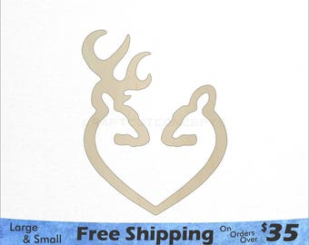 Deer Heart Shape -Woodland Wildlife - Large & Small - Pick Size - Laser Cut Unfinished Wood Cutout Shapes (SO-0072)