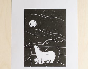 Polar Bears, Handmade Linocut Print 8x10, Nursery Decor, Nursery Art, Wall Art, Home Decor, Animal Art, Baby Shower Gift