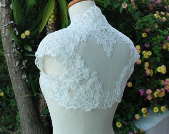 Wedding Bolero. Ivory Bridal Bolero.Short sleeve Wedding Jacket. Alencon Lace Bolero.Bridal Separates. Bridal Top.