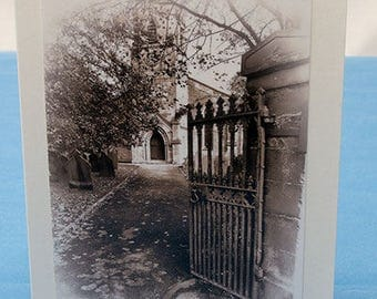 Churchyard, Greeting Card, Blank Inside, Ivory Card, 5x7, handmade, Original Photograph, Black and White Photo
