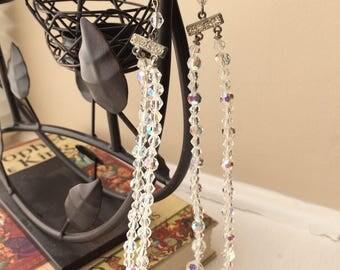 Vintage Aurora Borealis Beaded Double Strand Necklace