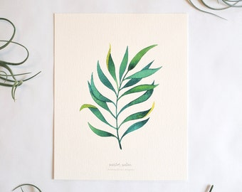 Parlor Palm Print - Watercolor Palm Frond, 8x10