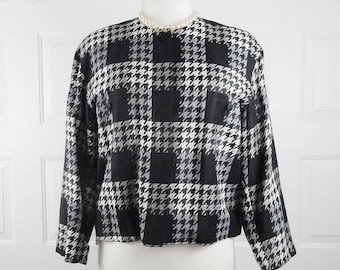 Vintage Designer Herringbone Linen Jacket Size 10-12 Japan 17104