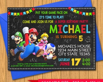 Super Mario Invitation, Super Mario Birthday Party, Luigi, Yoshi, Game, Nintendo, Cartoon, Personalized, Printable, Chalkboard, Digital File