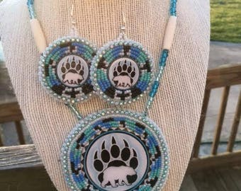 Bear Medallion and Earrings