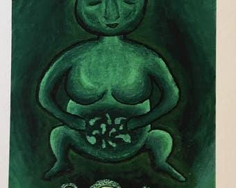 Fine art print of original painting. Mystical art, postcard sized