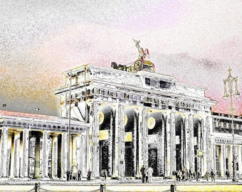 """limited artistic Photography """"Brandenburger Tor I"""" Berlin by Thomas de Bur Germany 100% cotton canvas gallery photograph certificate"""