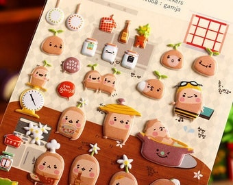 Kawaii Gamja Baker Potato Puffy Stickers ~ Potato Stickers ~ Kawaii Stickers ~ Cute Stationery, Scrapbooking, Puffy Stickers, Baker Potato