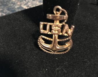 Sterling Silver US Navy Anchor Pin