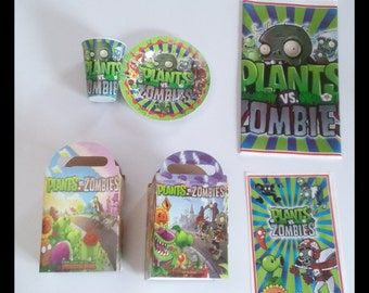 Plants VS Zombies Party Set 10 Guest Plates, Cups, Candy Bags, Candy Box, Table Cover