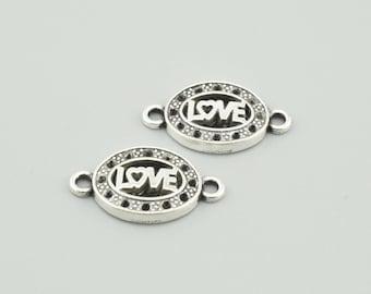 30pcs 18x9mm Antique Silver Love Charm Pendants Love Connector  ZX016