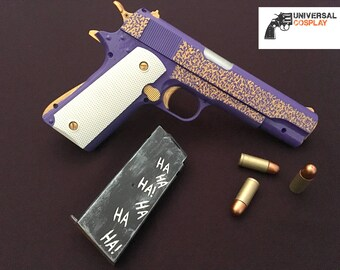 The Joker's M1911 Colt 45 Pistol from Suicide Squad - Realistic Prop Toy Gun for Cosplay w/Magazine + Bullets