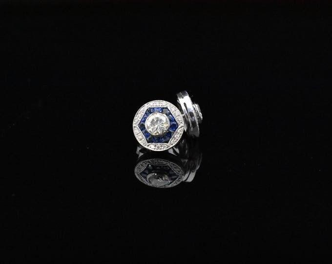 Gorgeous diamond sapphire earings