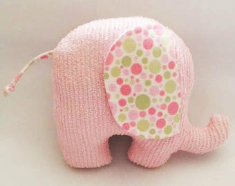 Pink Elephant, Pink, Elephant, Toy, Baby Toy, Homemade Toy, Repurposed, Stuffed Animal, Baby Shower Gift, Baby Gift