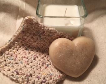 Handmade Candle Soap and Washcloth Set