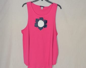Rose Blue white Pink Sleeveless Top