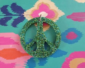 Glittery peace sign  charm