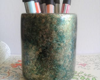 Iridescent Green & Gold Pen/Pencil Pot E96