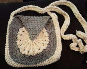 flower square shoulder bag with adjustable strap + latch