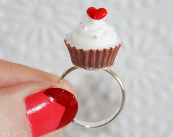 Spunky Tiny Cupcake Ring in Brown - Size 8