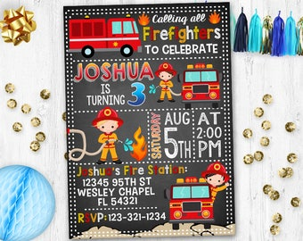 Fireman Invitation Firetruck Firefighters birthday party Fireman Fire truck invite invitation birthday card