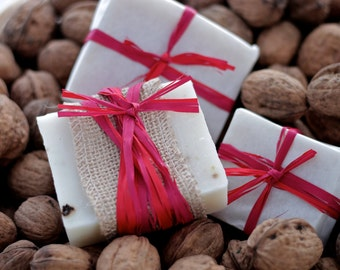 Walnut soap, hand made cold process all natural soap with walnuts and walnut oil for damaged skin, psoriasis and eczema