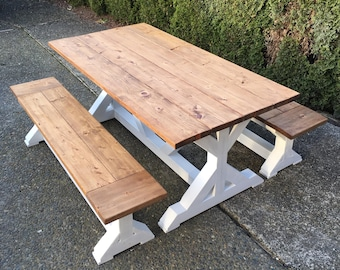 Trestle Farmhouse Dining Table With Optional Benches - Custom Options