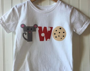 If you give a mouse a cookie birthday shirt. Second birthday, 2nd birthday, one shirt, two shirt, book themed party, cookie themed party,