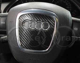 Black Carbon fiber airbag steering wheel wrap AUDI s rs a1 a3 a4 a5 a6 a8 tt q3 q5 q7