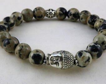 Yoga Bracelet, Buddha Head Bracelet, Dalmatian Jasper beaded yoga bracelet, Natural Stone, Loyalty