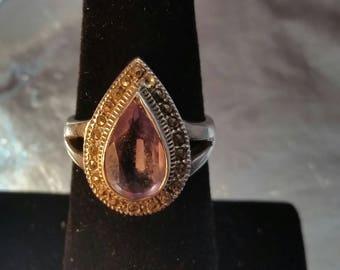 Vintage Teardrop Amethyst Tear Drop Marcasite Sterling Silver Ring Sz 7