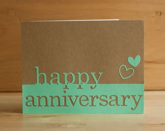 "handmade, diecut greeting card: ""happy anniversary"" card"