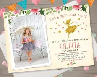 ballerina birthday invitation with photo retro ballerina invitation ballerina invite dance party invitation pink and gold
