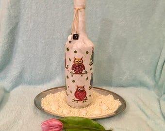 Bottle lamp Dekoflasche OWL Dekoflasche with LED light chain