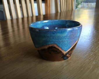 Small Ceramic Bowl with Mountain Design