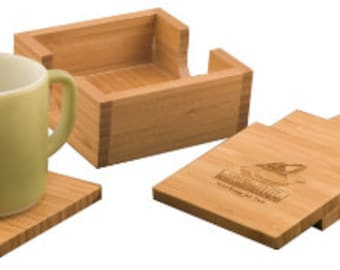 Bamboo Square 4- Engraved Coaster Set with Holder