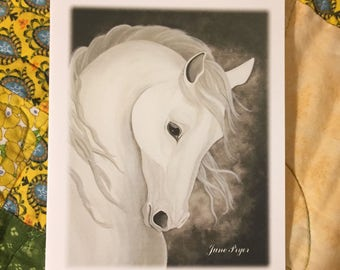 white horse Note cards, white horse greeting cards, white horse thank you notes, horse note cards, horse thank you cards, original note card