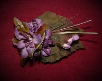 Delphinium and Grape Leaf Hair Clip