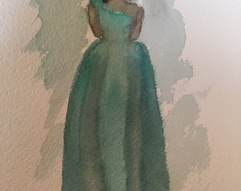 """Watercolor """"Green With Envy"""" Dress Painting"""
