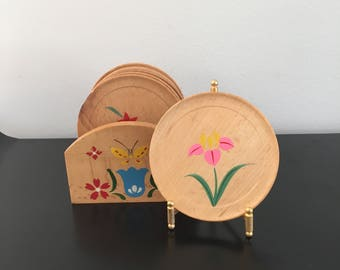 Vintage, Wooden Hand Painted Coasters,Folk Art, Wooden Art, Coasters,Home Decor,Wooden Coasters In Rack, Alpine Cottage, Floral, Bavarian,