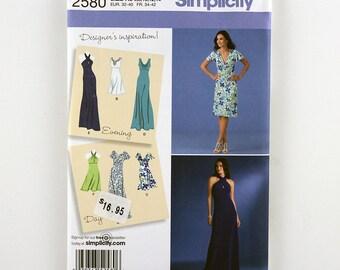 Simplicity Pattern 2580 Misses' Knit Dresses, Two Lengths, Bodice Variations, Sizes 14, 16, 18, 20, 22 Uncut Designer's Inspiration Pattern