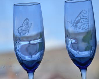 Blue Butterfly l Champagne Glasses