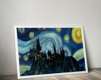 Hogwarts, Starry Night Print, Harry Potter Print, Hogwarts Castle Print, Harry Potter Art, Hogwarts Art Print, Van Gogh, Hogwarts Art, Print